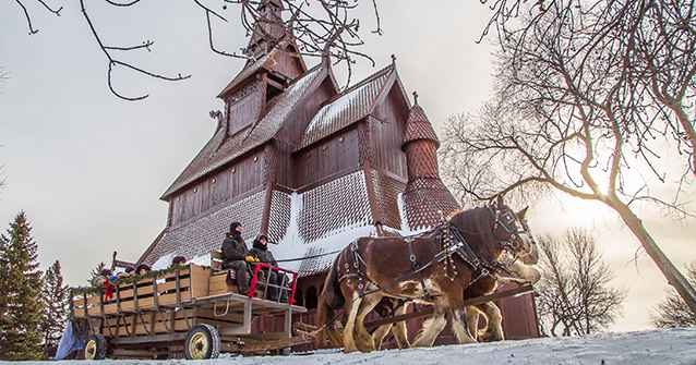 Sleigh ride past the Stave Church