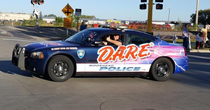 DARE Car in parade with Ethan 2017