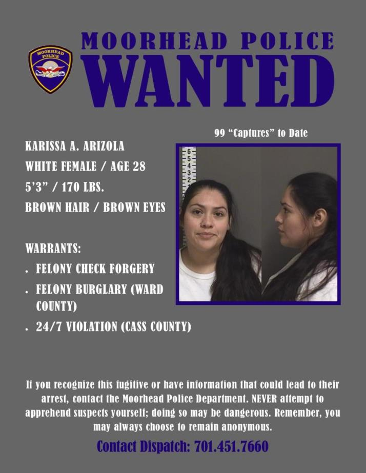 Wanted Wednesday September 11 - Arizola